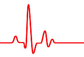 Red heart beat pulse graphic line on white, healthcare medical sign with heart cardiogram, cardiology concept pulse rate diagram illustration