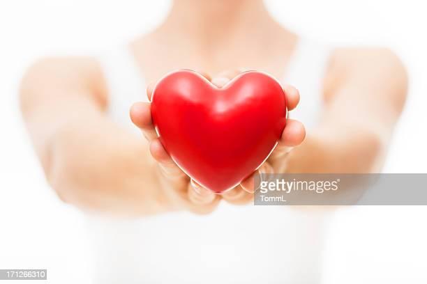 Rotes Herz in Händen von Frau