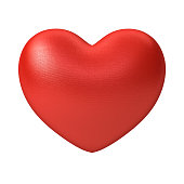 Red Heart isolated on white background . 3D rendering.