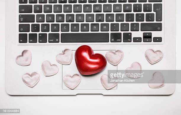 Red Heart on laptop