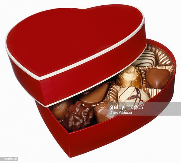 Red heart shaped box of chocolate candy