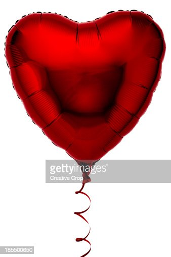 Red heart shaped foil party balloon