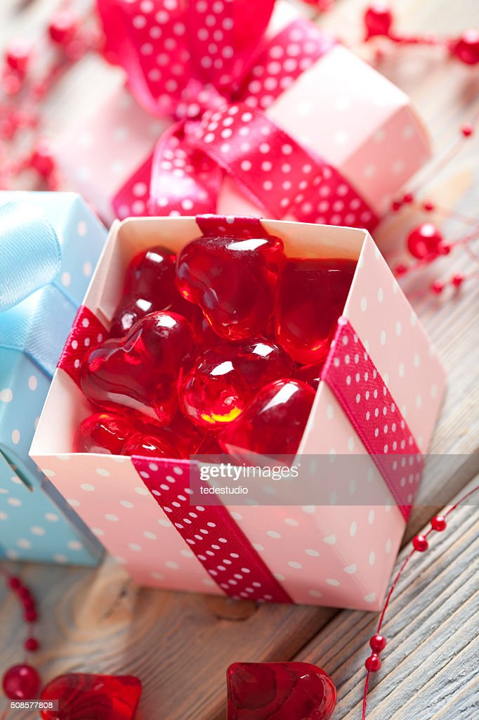 Red hearts in a box : Stock Photo