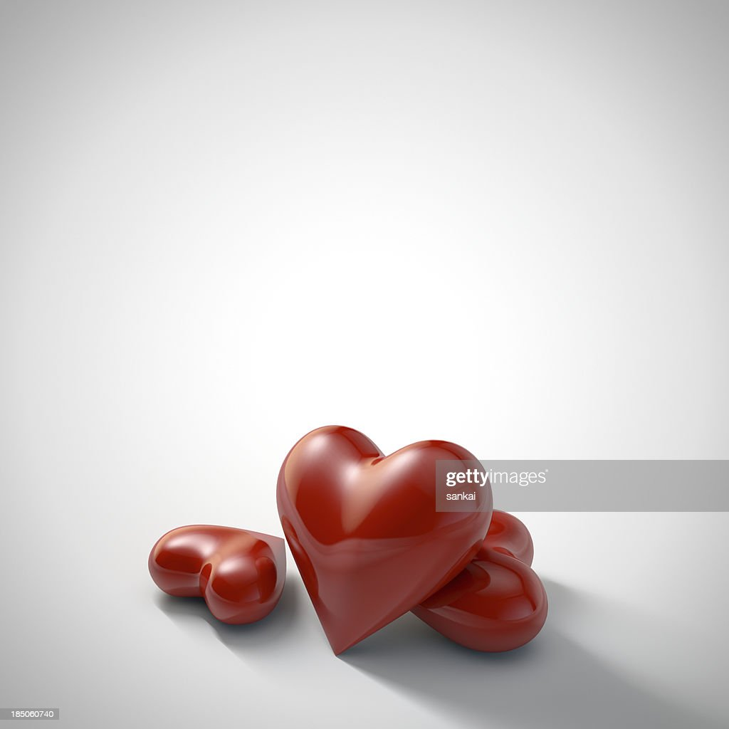 Red hearts isolated on white background : Stock Photo