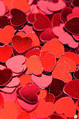 Red hearts texture. Red valentine day background.