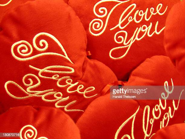Red hearts with I love you