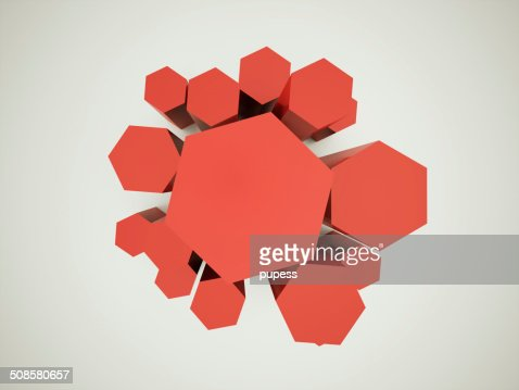 Fond rouge hexagonale : Photo