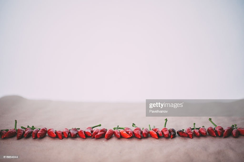 Red hot pepper in a line. : Stock Photo