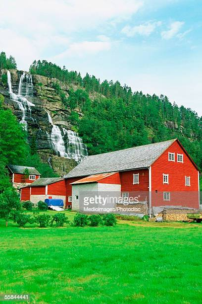 Red house near Tvindefossen Falls, Voss County, Norway