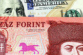 A red, five hundred Hungarian forint bank note with a blue American one hundred dollar bill close up in macro