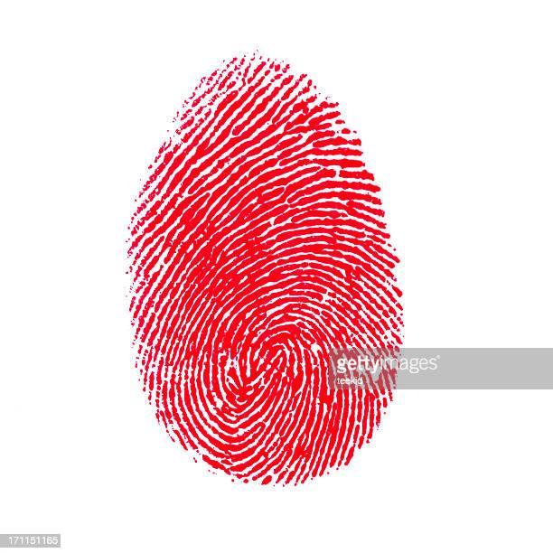 Rosso isolato su sfondo bianco di impronte digitali