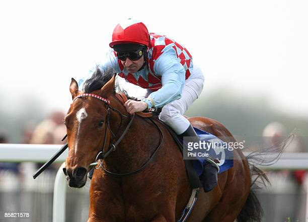 Red Jazz ridden by Michael Hills wins the Reading Evening Post Maiden Stakes race run at Windsor Racecourse on April 06 in Windsor England