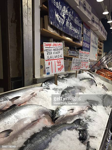 Red king salmon for sale at Pike Place Market