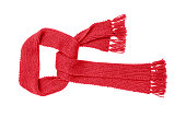 Red knitted scarf isolated on white background.
