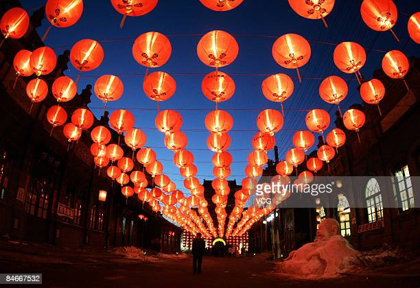 Red lanterns are hung to celebrate the Chinese New Year of Ox on February 5 2009 in Shengyang Liaoning province of China Chinese people continue to...