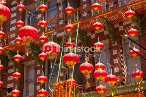 Red lanterns hanging in Chinatown : Stock Photo
