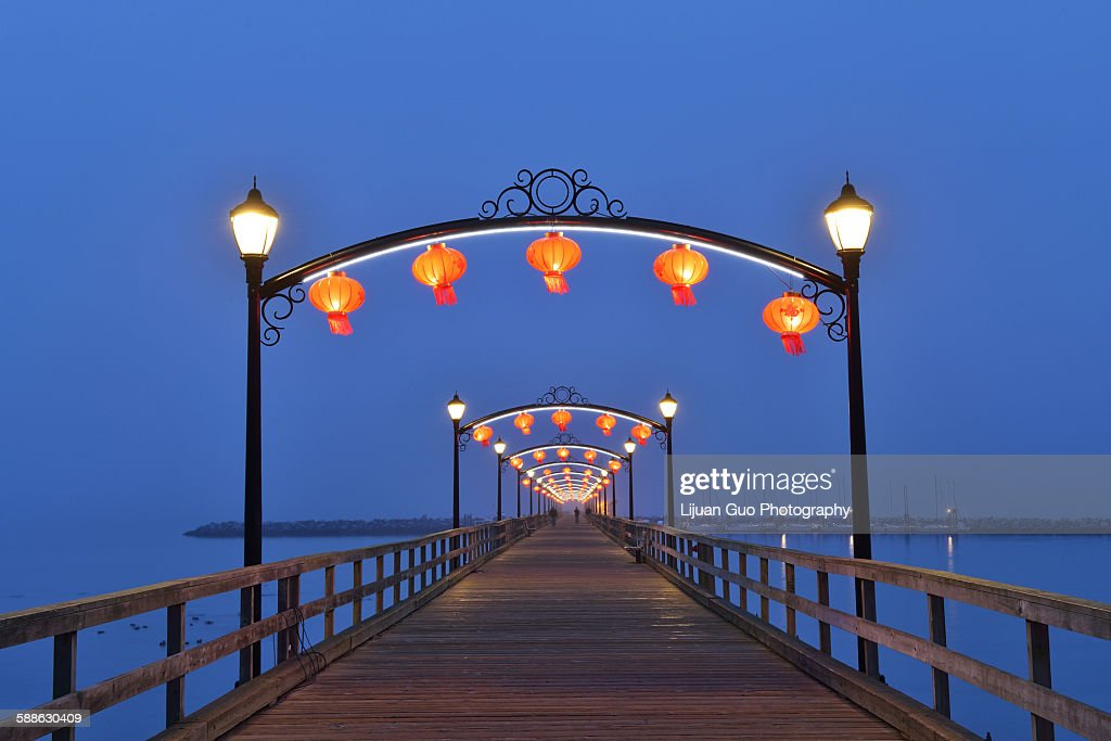 Red Lanterns on White Rock Pier for Chinese Moon F