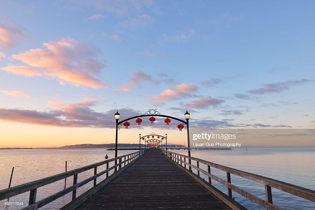Red Lanterns on White Rock Pier for Moon Festival