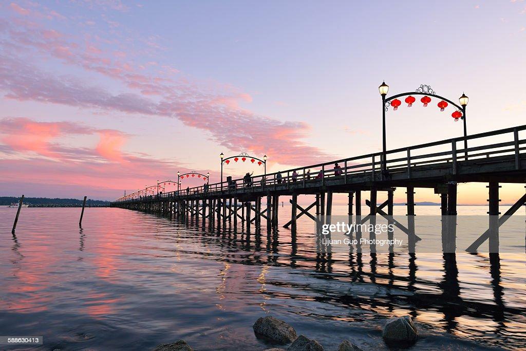 Red lanterns on White Rock pier