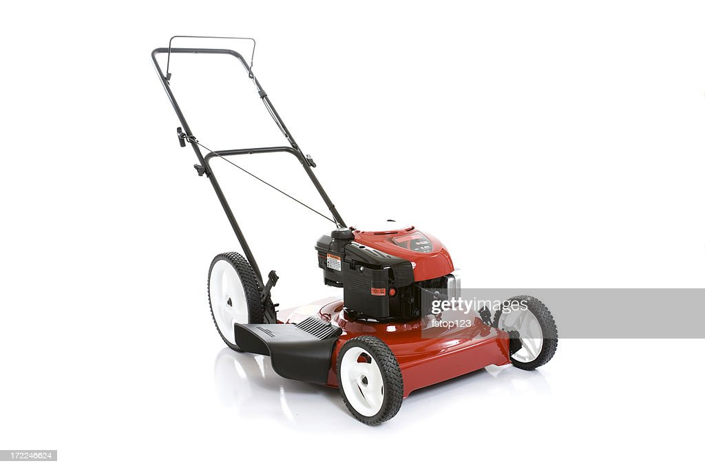 Red Lawnmower isolated on white background
