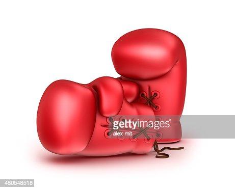Cuero rojo de boxeo Guantes aislados en blanco : Foto de stock