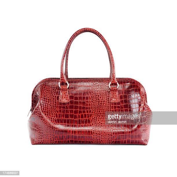 Rotes Leder-Frau Handtasche, isoliert auf weiss
