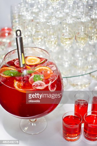 Red Lemonade with fresh orange on white background : Stock Photo