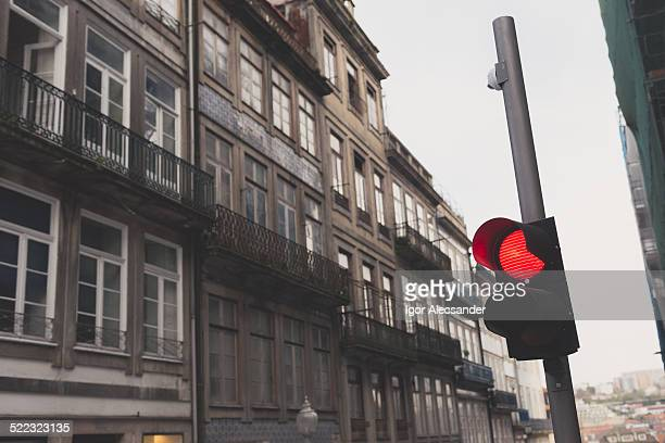 Red light and buildings in Porto downtown