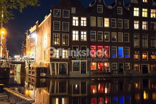 Quartiere a luci rosse a notte centro della citt di for Centro di amsterdam