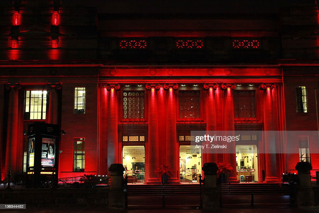 Red light illuminates the National Concert Hall in Dublin, Ireland, 30th November 2011. The hall is the home of the RTE National Symphony Orchestra.