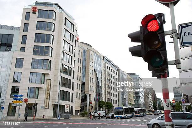 Red light on a street crossing in the finance district on June 25 2013 in LuxembourgCity Luxembourg