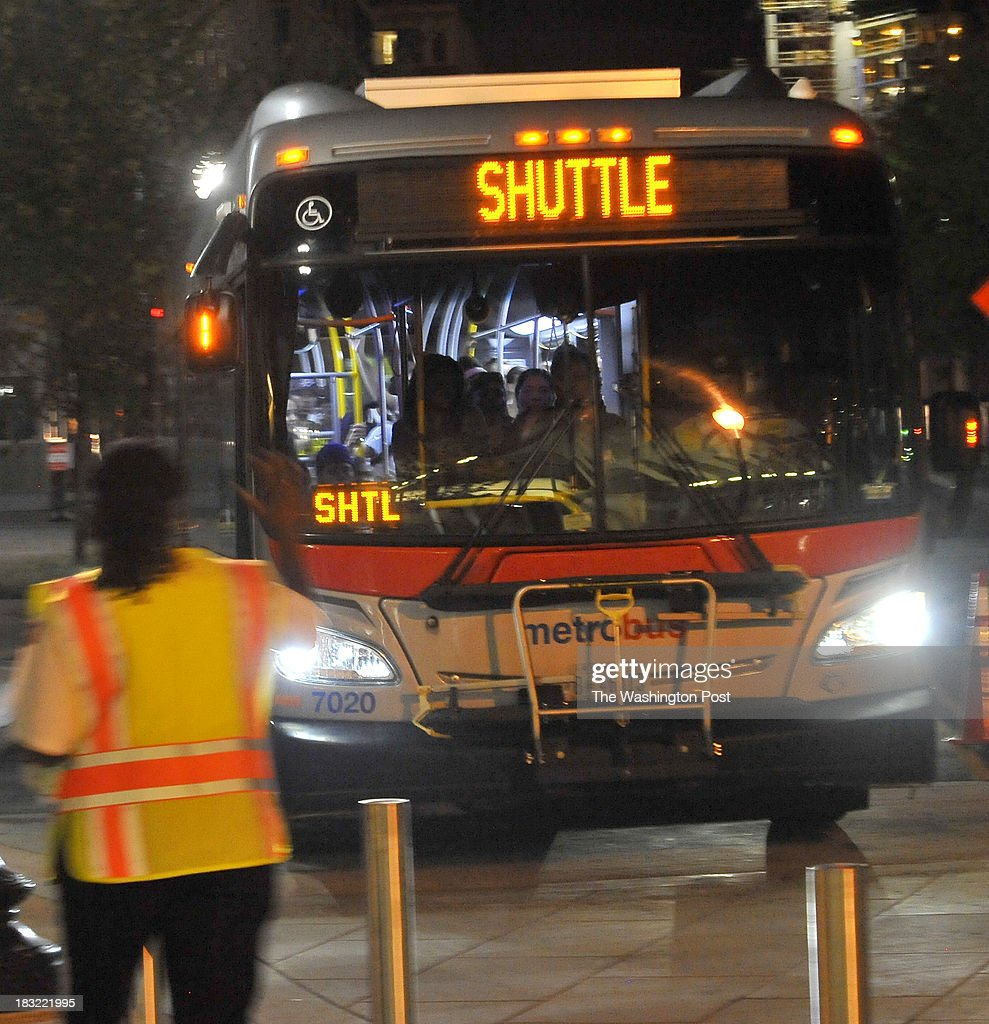 A Red Line shuttle bus pulled up to the NoMa Station during the shut down of a major section of the line on Friday, October 04, 2013 in Washington, DC.
