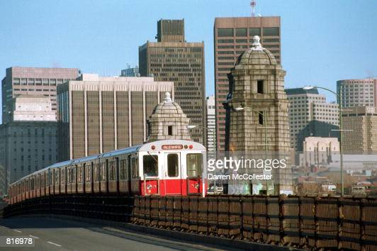 Red Line subway car known as the T in Boston crosses the Charles River March 12 2001 in Cambridge MA Boston's subway system the oldest in the nation...