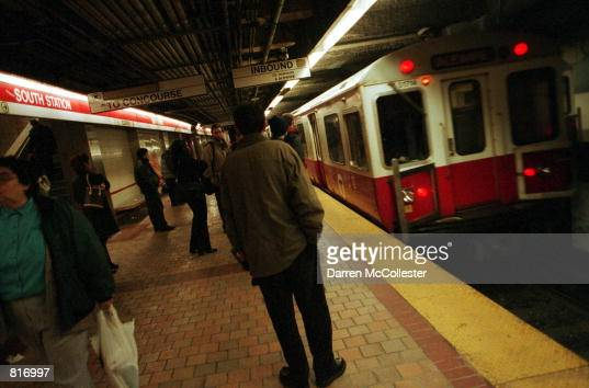 Red Line train rolls into South Station March 13 2001 in downtown Boston MA Boston's subway system the oldest in the nation has plans to auction of...