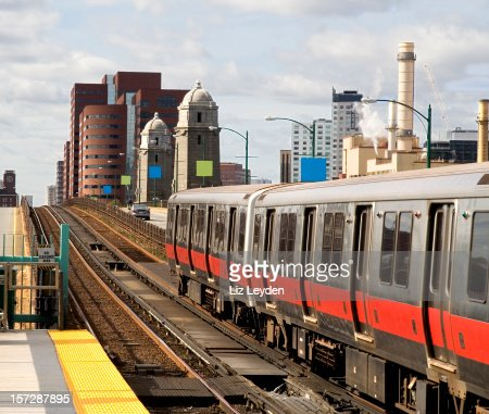 Red Line train - Salt and Pepper / Longfellow Bridge. Boston