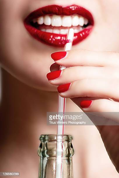 Red lips and fingernails