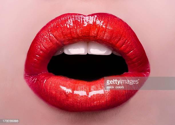 red lips macro
