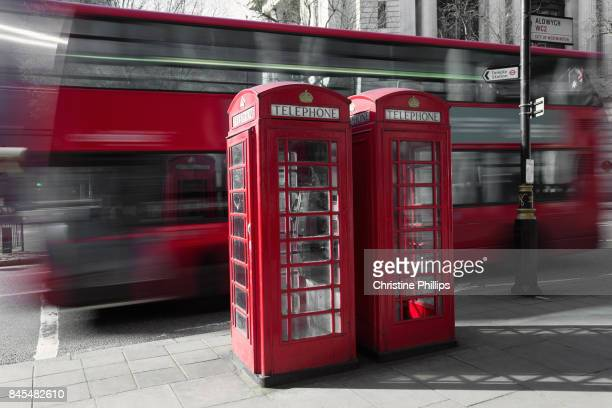 Red London Bus and Red London Phone Booth