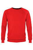 Red long sleeve t-shirt isolated on white background