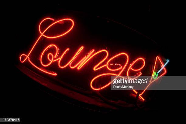 Red Lounge Sign Fisheye with Cocktail Glass