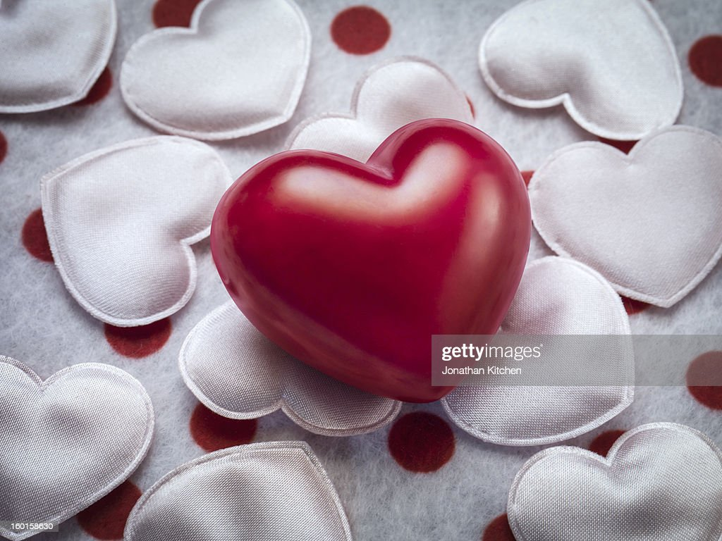 Red love heart on hearts : Stock Photo