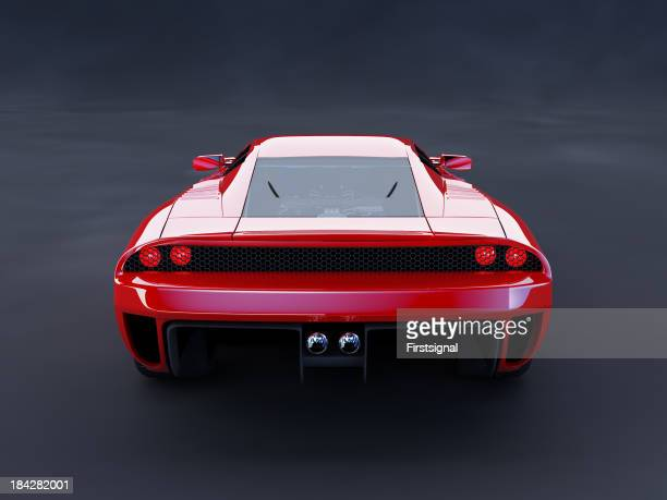 Red luxury car on dark background