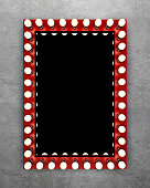 Red makeup mirror on concrete wall. 3D rendering