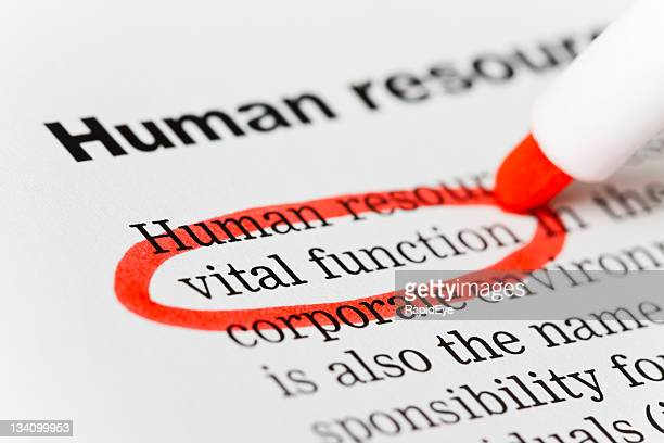 "Red marker circles ""vital function"" in Human Resources document"