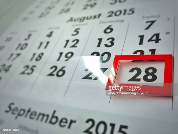 Red Marker On 28Th Of August