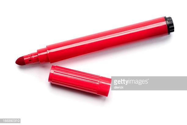 Bolígrafo marcador rojo Aislado en blanco