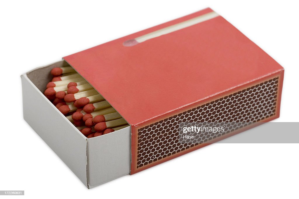 Red matchbox with clipping path