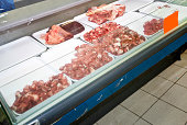 Red meat on display in supermarket