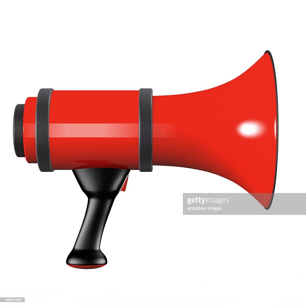 A red megaphone on white background