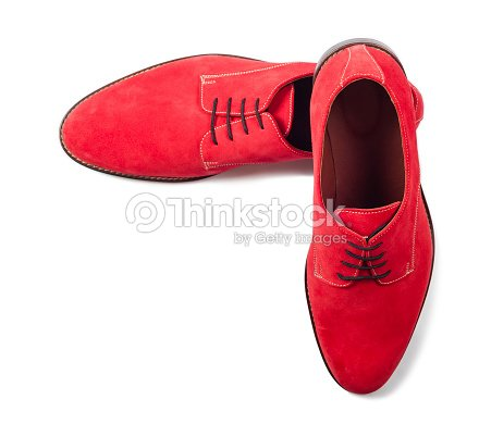 Red Men Suede Shoes Isolated On White Background Top View